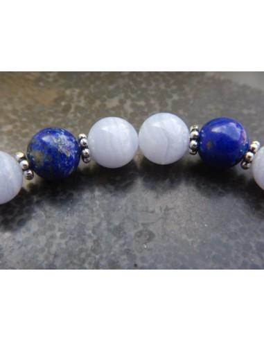 Bracelet femme sur mesure, en pierres naturelles de calcédoine et lapis lazuli, perles bleues de 8 mm, perle de Bali en argent