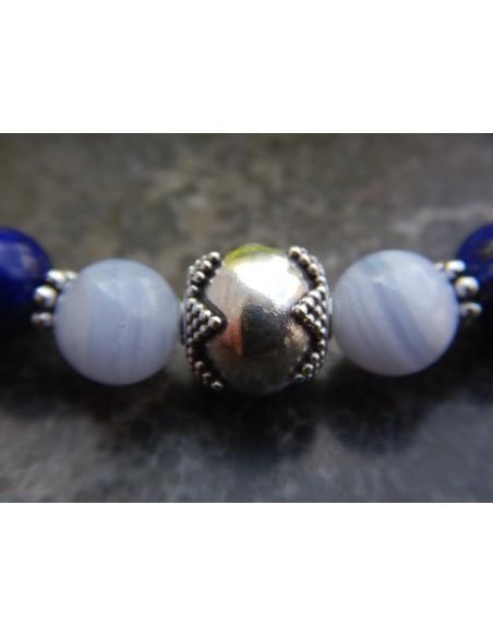 Bracelet calcédoine et lapis lazuli, perles bleues de 8 mm, perle de Bali en argent
