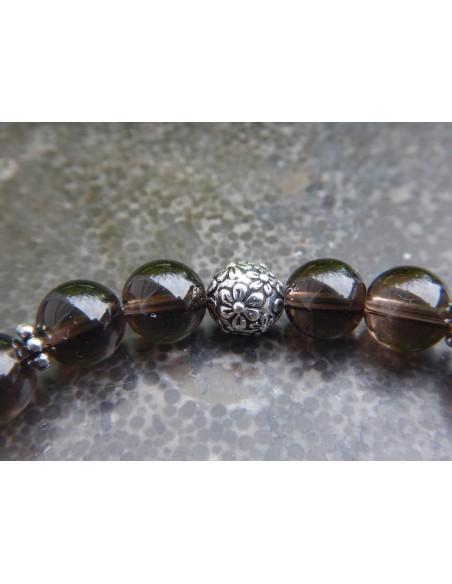 Bracelet en pierres naturelles de quartz fumé