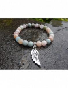 Bracelet en pierres naturelles de beryl, perles de 8mm et sa médaille aile d'ange