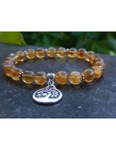 Bracelet en pierres naturelles de citrine chauffée