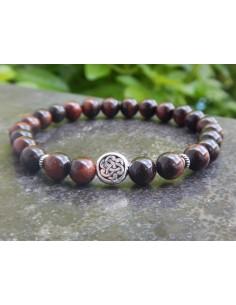 Bracelet homme œil de taureau, perle noeud celtique