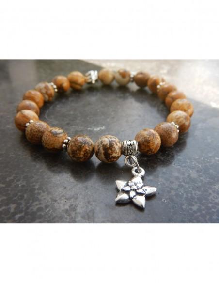 Bracelet jaspe paysage, perles 8 mm, perle rose et médaille fleur de jasmin