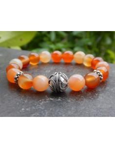 Bracelet en pierres naturelles de cornaline, perles orangées de 10 mm