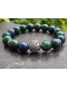 Bracelet azurite malachite, perles de 10 mm, perle en argent