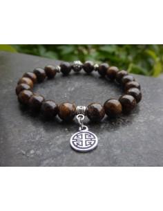 Bracelet en bronzite, perles de 8 mm