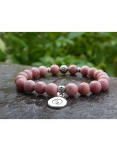Bracelet en rhodonite, perles de 8 mm et sa médaille yin yang