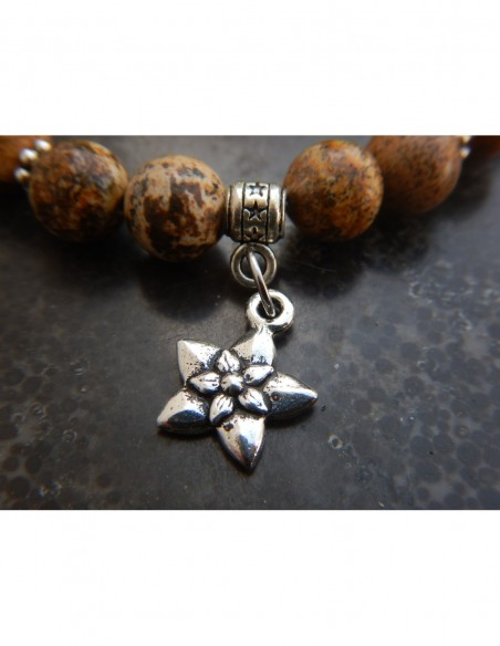 Bracelet en jaspe paysage, perles 8 mm, perle rose et médaille fleur de jasmin en métal argenté