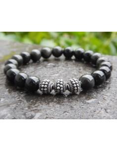 Bracelet en pierres naturelles d'obsidienne oeil céleste