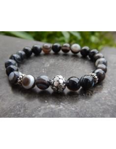 Bracelet agate teintées veinée noires, perle en argent