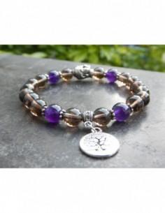 Bracelet en pierres naturelles de Quartz fumé et améthyste et sa médaille arbre de vie en métal argenté