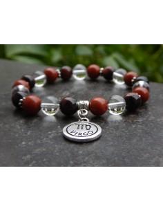 Bracelet astrologique vierge en pierres naturelles de jaspe rouge, cristal de Roche et Oeil de taureau