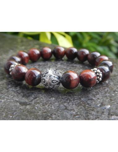 Bracelet mixte en pierres naturelles d'oeil de taureau, perles rouge marron de 10 mm