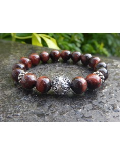 Bracelet oeil de taureau, perles rouge marron de 10 mm