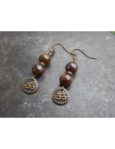 Paire de boucles d'oreilles en pierres naturelles de bronzite