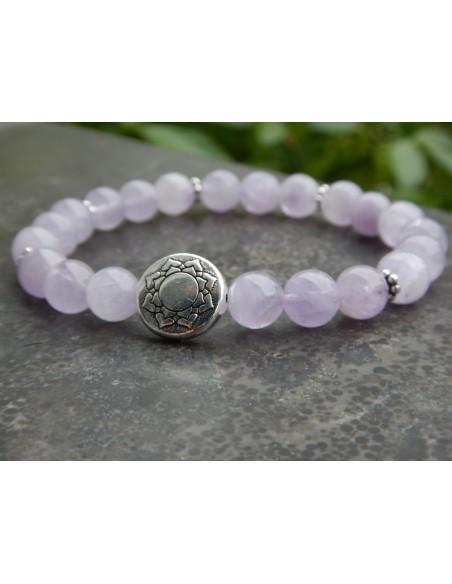 Bracelet améthyste lavande, perle mandala