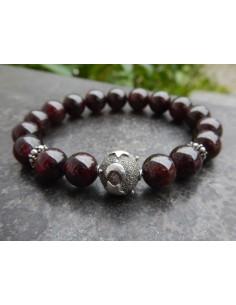 Bracelet en pierres naturelles de grenat, perles 10 mm