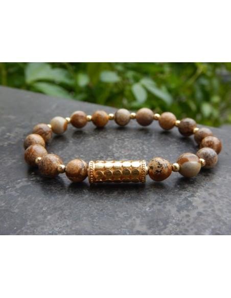 Bracelet jaspe paysage, perle tube vermeil