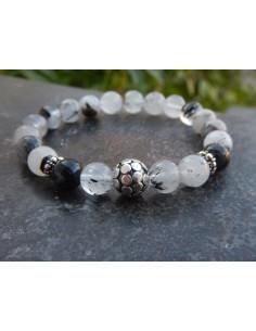 Bracelet en quartz rutile, perles 8 mm et sa perle de Bali