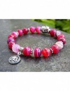 Bracelet en pierres naturelles d'agate teintées rose, médaille ohm et tête de Bouddha en métal argenté