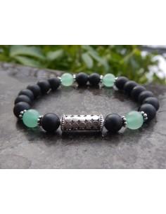 Bracelet en agate mate et aventurine, perles de 8 mm