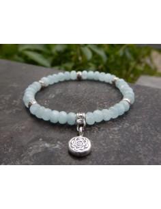 Bracelet en aigue-marine, perles de 6 mm