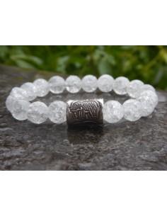 Bracelet femme en pierres naturelles de cristal de roche craquelé en perles de 10 mm