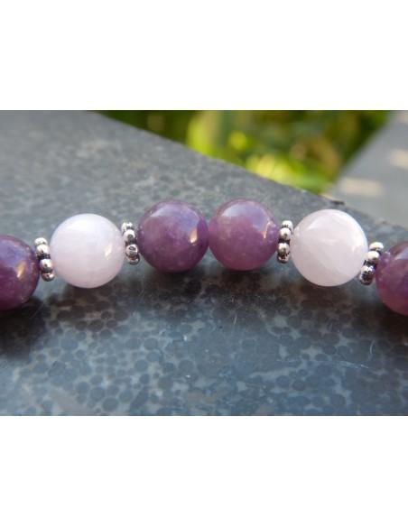 Bracelet en lépidolite violette et kunzite, perles 8 mm:-)