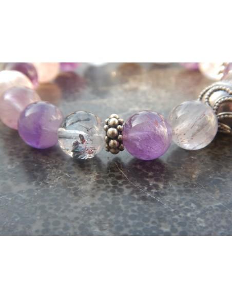 Bracelet en pierres naturelles de cacoxénite en perles de 11 mm