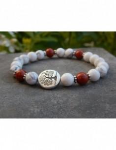 Bracelet en pierres naturelles d'howlite et jaspe rouge, perles 8 mm et sa perle arbre de vie en métal argenté