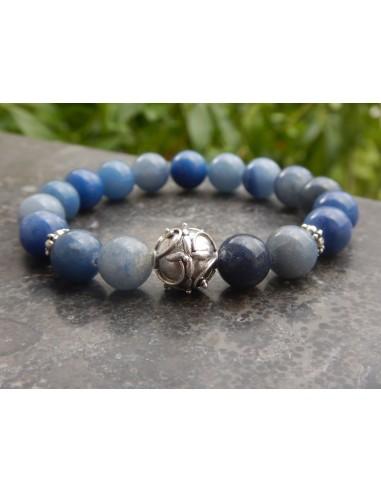 Bracelet en pierres naturelles d'aventurine bleue en perles de 10 mm