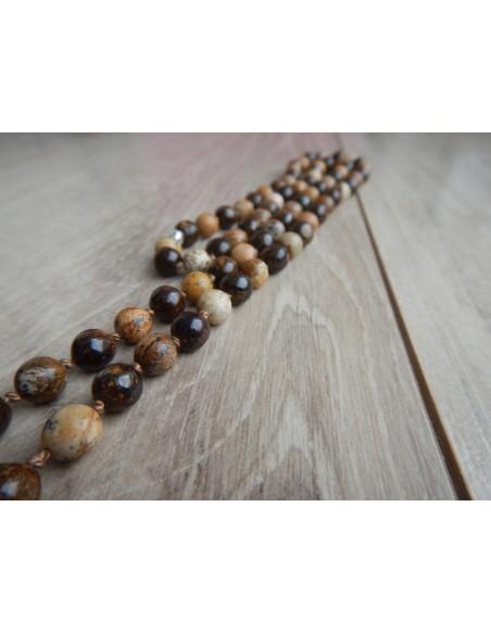 Sautoir bronzite et jaspe paysage perles de 8 mm