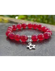 Bracelet enfant en pierres naturelles d'agate rose teintée