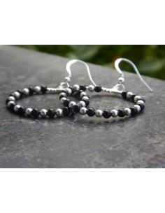 """Paire de boucle d'oreille """"créole"""" en agate et perles en argent 3 mm"""