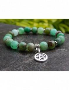 Bracelet chrysoprase, perles vertes de 8 mm, médaille pentagramme
