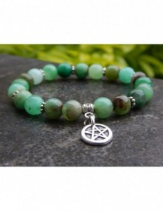 Bracelet femme sur mesure, en pierres naturelles de chrysoprase, perles vertes de 8 mm,médaille pentagramme en métal argenté