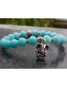 """Bracelet en pierres naturelles d'Amazonite du Pérou (rare), perles bleues turquoises de 8 mm et sa médaille """"Ganesh"""""""