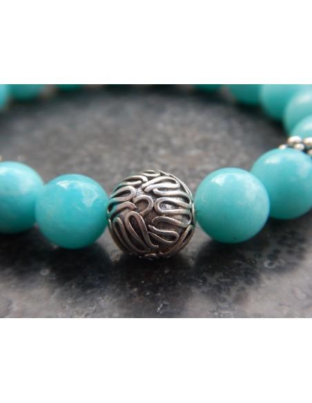 Bracelet en pierres naturelles d'Amazonite du Pérou (rare), perles bleues turquoises de 10 mm