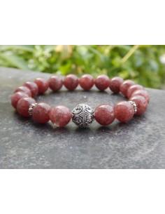 Bracelet en pierre naturelle de muscovite rouge en perles de 10 mm