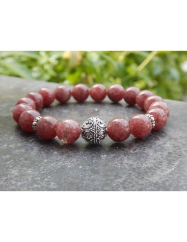 Bracelet en muscovite rouge en perles de 10 mm