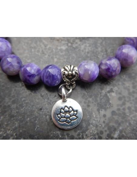 Bracelet en pierres naturelles de Charoïte qualité supérieure, perles de 8 mm