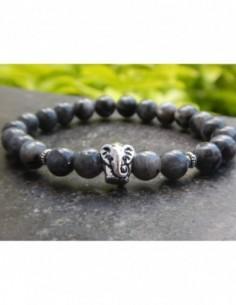 Bracelet larvikite, perles grises 8 mm, perle éléphant