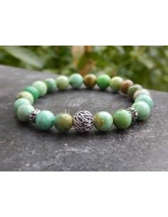 Bracelet Variscite, perles de 8 mm, perle argent