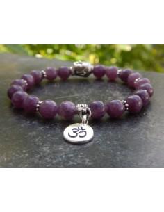 Bracelet en pierres naturelles de lépidolite violette en perles 8 mm.