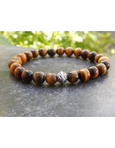 Bracelet oeil de tigre, perle celtique