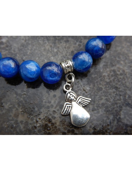 Bracelet en pierres naturelles de cyanite en 8 mm et son ange