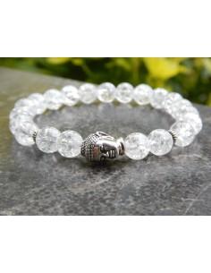 Bracelet cristal de roche craquelé, perle bouddha