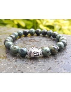 Bracelet jaspe kambamba, perles de 8 mm, perle bouddha