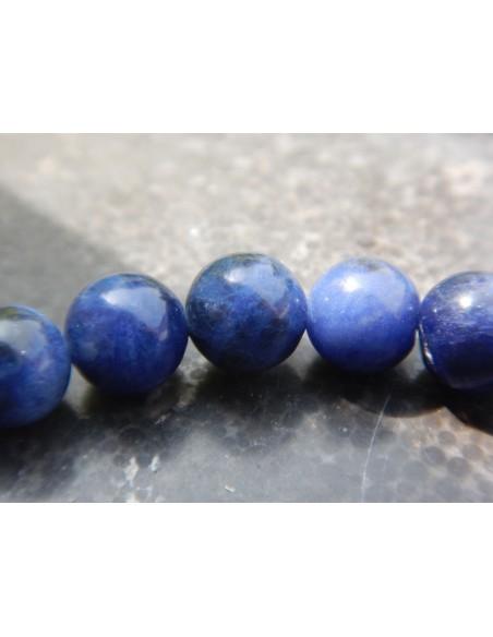 Bracelet en sodalite, perles bleues 8 mm