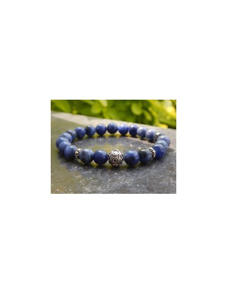 Bracelet en pierres naturelles de sodalite, perles bleues 8 mm